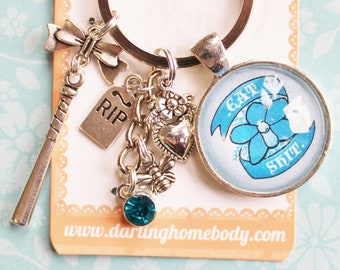 Eat Shit Rude Buds Key Chain. Pastel Flower Petal Keychains for Women. Sarcastic Humor Keychain Accessories. Small Gift for Her.