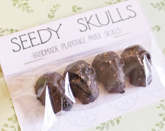 Plantable Paper Skulls / Seed Bombs / Black Seedy Skulls Pack / Recycled Paper Pulp Craft / Spring Summer Small Gift / Wild Flowers