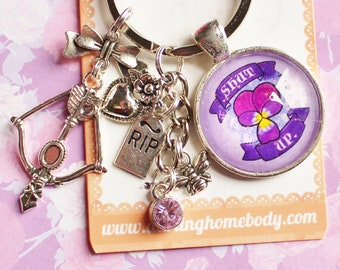 Shut Up Rude Buds Key Chain. Flower Sarcastic Keychains for Women. Bag Accessories. Floral Pastel Punk Keychain Charm. Gift for Car Keys.