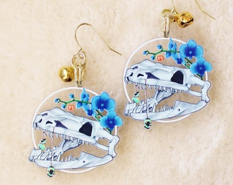 Snake Skull Earrings or Keychain. Witchy Dangle Earrings. Gothic Style Jewelry. Spooky Halloween Aesthetic. Punk Serpent Earrings.