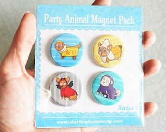 Magnet Set Series 4. Party Animal Fridge Magnet. Funny Kitchen Decor. Dog Magnets. Teacher or Vet Gift. Cute Corgi Office Decor.