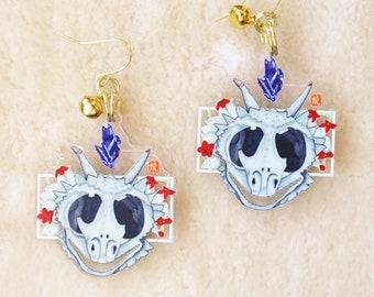 Dragon Skull Earrings or Keychain. Crystal Witch Earrings. Lizard Dangle Earrings. Goth Gift Ideas. Halloween Style Jewelry.