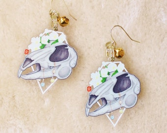 Rat Skull Earrings or Keychain. Clear Acrylic Dangle Earrings. Spooky Halloween Earrings. Witchy Aesthetic. Goth Style Jewelry Gift.