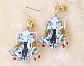 Boar Skull Earrings or Keychain. Crystal Witch Dangle Earrings. Punk Style Jewelry. Goth Gift Ideas. Halloween Aesthetic Fashion.