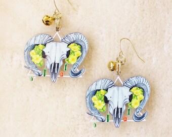 Ram Skull Earrings or Keychain. Punk Style Earrings. Acrylic Dangle Earrings. Goth Witch Jewelry. Baphomet Goat Earrings.