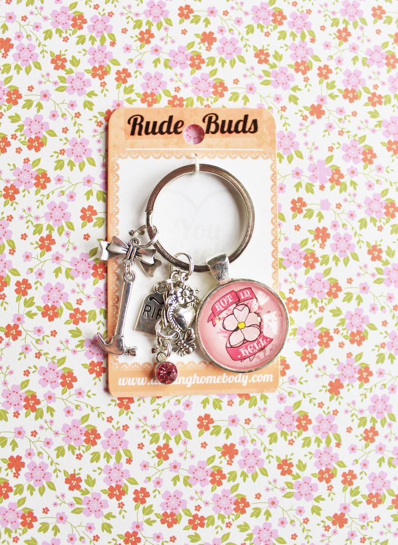 Rot in Hell Rude Buds Key Chain. Small Birthday Gift for Her. image 0