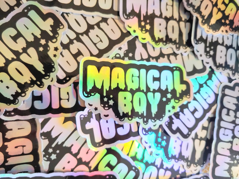 Holographic Sticker. Weatherproof Vinyl Decal. Magical Boy image 0