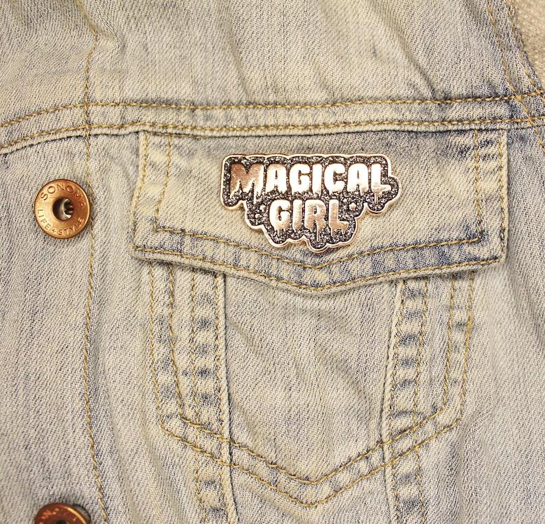 Magical Girl Enamel Pin. Rose Gold w Black Glitter. Sailor image 0