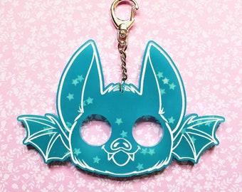 Glow in The Dark Blue Bat Keychain. Cute Pastel Goth Gift Idea. Resin Baby Bat Keyring w Stars. Handmade Celestial Keychain. Witchy Gift.