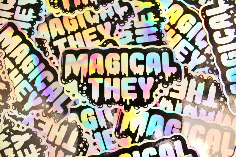 Holographic Sticker. Weatherproof Vinyl Decal. Magical image 0