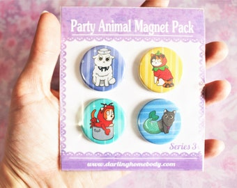 Magnet Set Series 3. Party Animal Whiteboard Magnets. Funny Animal Birthday Gift. Cute Cat Magnets. Vet or Teacher Gift. Cat Office Decor.