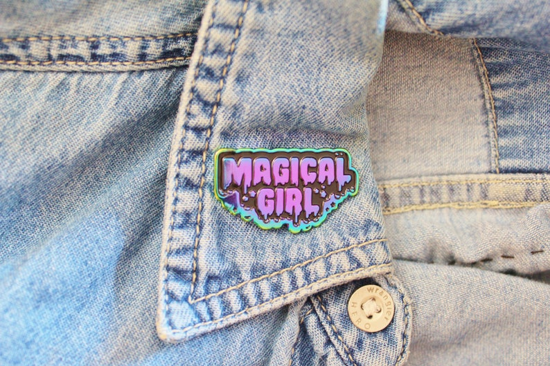 Rainbow Metal Enamel Pin. Magical Girl Lapel Pin. Kawaii image 0