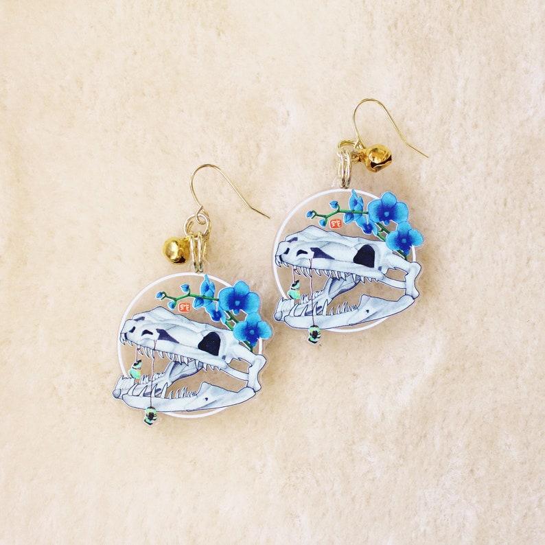 Snake Skull Earrings or Keychain. Witchy Dangle Earrings. image 0