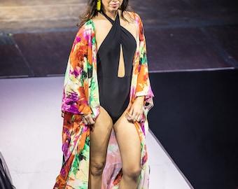 Swimsuit Cover-up, Beach Cover-ups, Swim Cover-ups || Robe, Side-slit (long) || Swimwear, Resortwear, Beachwear, Loungewear || {Kyla Robe}