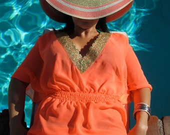 Swimsuit Cover-up, Beach Cover-ups, Swim Cover-ups || Gold Trim Swimwear, Resort Wear, Beach Tunic Dress || One-Size-Fits-Most || {Sydney}