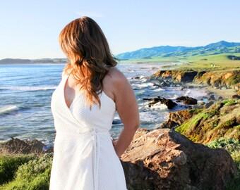 White Cotton Eyelet Wrap Dress    Summer Dress, Rehearsal Dinner Dress, Spring Dress, Garden Party, Beach Dress, Bridal Party    {Vanessa}