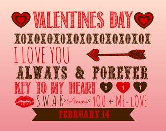 Valentines Day Subway Art 8X10