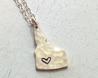 Hammered Idaho in Sterling Silver