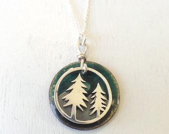 Trees and Mountains Enamel Pendant