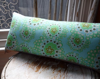 Amy Butler Daisy Chain Dandelion Field Mist cushion cover with French linen backing 60cm x 30cm