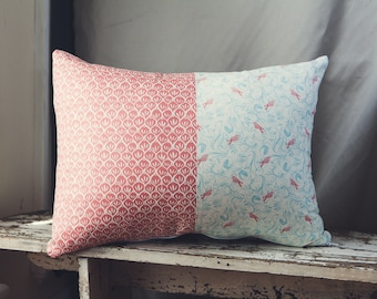 """Rectangle Cushion/Pillow Cover in a combination of the """"Timber and Leaf Collection"""" by Sarah Watts."""