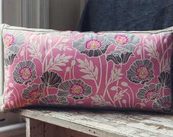 """Rectangle Cushion Cover in Notting hill """"Pristine Poppy"""" by Joel Dewberry for FreeSpirit  with an EST Linen Backing."""