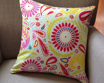Square Cushion/Pillow Cover in Dena Designs Kumari Garden Sanjay Pink with a French Linen backing