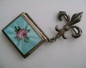 Sterling Silver Victorian Style Jewelry Fleur De Lis Double Picture Photo Locket Mint Green Enamel Pink Rose Flower Leaf Pattern Brooch Pin