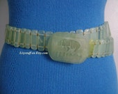 Huge 412 Grams Genuine Polished Green Chinese JADE Stones Hand-Carved Rhino Figural Buckle Belt UNISEX 44 Inches Long by 1 1 4 Inches Wide