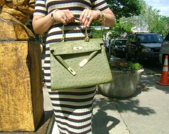 f974d7d7eb Vintage Genuine Ostrich Skin Leather Gorgeous Army Olive Green Color  Timeless Satchel Top Handle Handbag Bag Purse Gold Accent w Lock   Keys