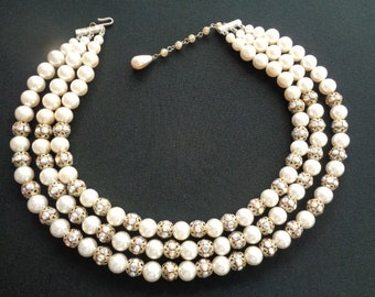 96a6d4689 Vintage Jewelry 3-Strand Luster White Faux Pearls With Filigree Brass AB  Aurora Borealis Rhinestones Rondelle Beads Accents Collar Necklace