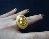 Fabulous Faceted Oval Shaped Citrine Orange Yellow CZ Cubic Zirconia Gold Plated Enameled Cocktail Dinner Solitaire Fancy Ladies Ring Size 8