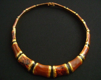 Goldtone Enameled Fall Autumn Colors Golden Brown Black Enamel Hinged Very Slim Small Choker Collar Silhouette Necklace 13Long Weight 62.6g