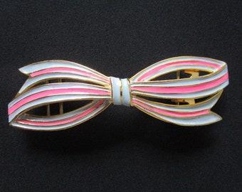 1984 Mimi Di N métal doré émaillé Rose   bleu ciel couleurs Pastel émail  doux joli noeud conçoit boucle pour ceinture large de 1-1 2