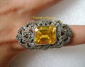 ALLURING 925 Sterling Silver 18 Carat Emerald Step Cut Orange Yellow Citrine Glitter Sparkles Marcasite Pave Classic Filigree Cocktail Ring