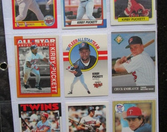 eaca69ff Minnesota Twins Baseball Cards 80s 90s in binder sleeves Kirby Puckett,  Kent Hrbek, Frank Viola, Chuck Knoblauch buy Collect Sport Cards