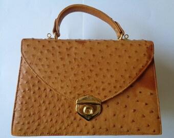 e8b6669745 Elegant Vintage DAVIDO GRACIA Italy Tan Cognac Ostrich Skin   Leather  Timeless Classic Satchel Two Way Purse Top Handle Handbag Shoulder Bag