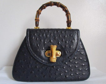 1ce324b58 Classic Vintage Dark Navy Blue Color OSTRICH Skin Leather Bamboo Handle  Twist Lock Satchel Handbag Purse Bag Gold Tone Timeless Accessories