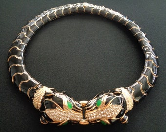 Important CINER Jewelry Yellow Gold Plated w/Black Gloss Enamel & Pave Diamante Glamorous Twin Panther Puma Head Green Gripoix Eyes Necklace