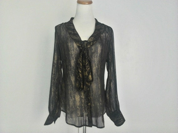 Clothing Front Made Blouse Bow Gold USA Buttons Vintage Tie Shear Night Day V Black Chiffon KAREN Women Top Neck KANE Shimmering In M Pussy ET4qxBawq