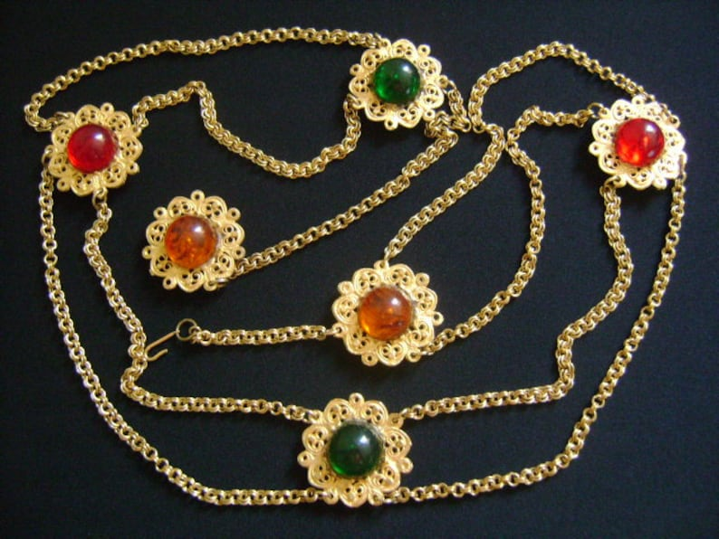 Victorian Revival Gold Gilt Jeweled Green Red Amber Colored Cabochon Shimmering Pearl Chain Swag Hip Versatile Reverse Belt 39 Medium Large