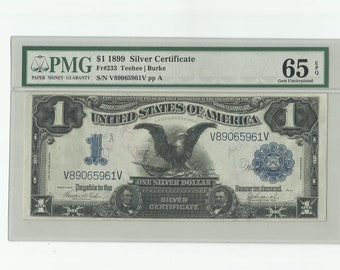 1899 Black Eagle US Silver Certificate 1 One Dollar Bill Currency Collectible Paper Money Banknote Graded PMG Fr 233 65 EPQ Gem Uncirculated