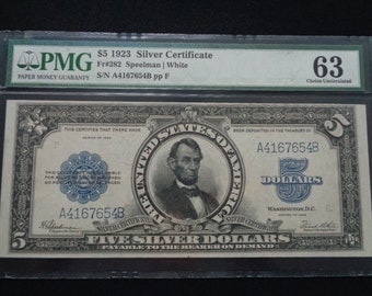 1923 US 5 Five Dollar Bill Porthole FR282 Abraham Lincoln Speelman White Silver Certificate Large American Banknote Paper Money PMG 63 Grade