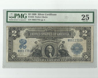 1899 2 Two Dollar Bill Silver Certificate Mini Porthole US Currency George Washington Banknote Paper Money Very Fine 25 PMG FR255 Collectors