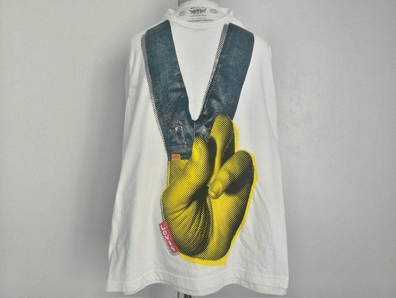 Tees Red Vintage 100 The XL Blue Original T Sign Graphic Levis Color RARE Sz Shirt Cotton White Jeans Peace Strauss Logo LEVI'S Yellow Hand n1v1pqWr