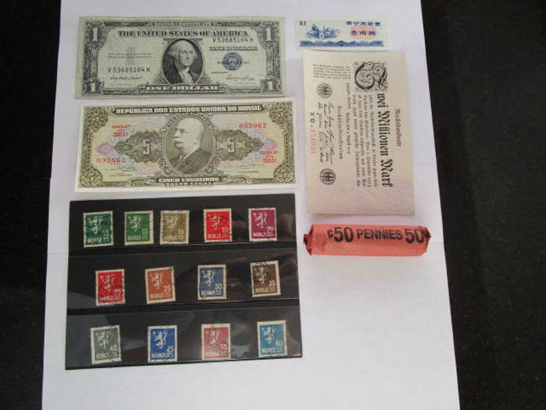 Collectors Lot of 4 Banknotes including a US Silver Certificate 13 Norge  Lion Stamps w/Stock Card & a Roll of US Wheat Pennies Grandpa Gifts
