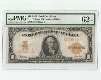 1922 Ten Dollars Gold Certificate PMG 62 EPQ Fr# 1173 Michael Hillegas Collectable American Currency Banknote Paper Money Serious Collector