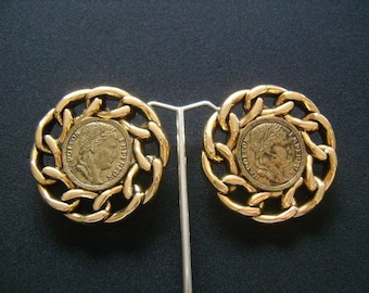 Fabulous Vintage France Napoleon Empereur Faux Coin Fake Coins With Chain Style Circle Round Chunky Showy Runway Clip On Earrings Gold Tone