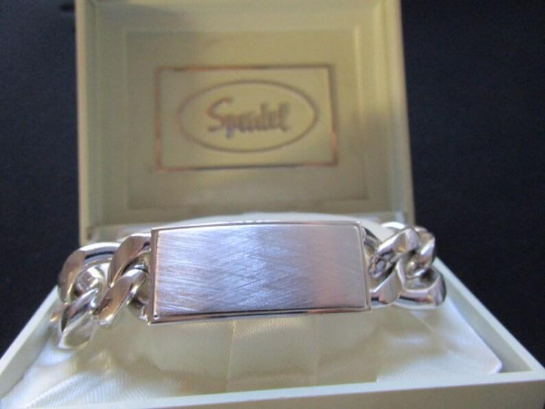 Speidel ID/'s Made in USA Textured Polished Finish Silver Plated Rock Star Rocker Biker DJ Link Chain Bar Bracelet Heavy 93gr Men Boy Jewelry