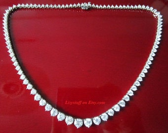 17 Carat Diamond Clarity VS2-SI2 Color G-H Brilliant Round Cut 14K White Gold Graduated Tennis Necklace 100% Genuine Natural Diamond Jewelry